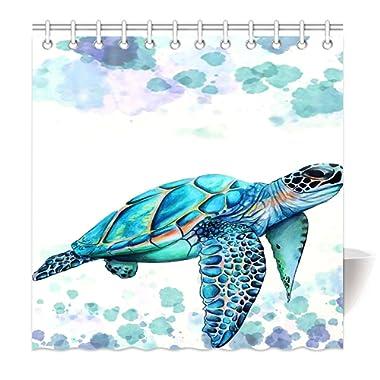 HommomH 72  x 72  Shower Curtain with Hooks Bathroom Waterproof Comfortable Sea Turtle