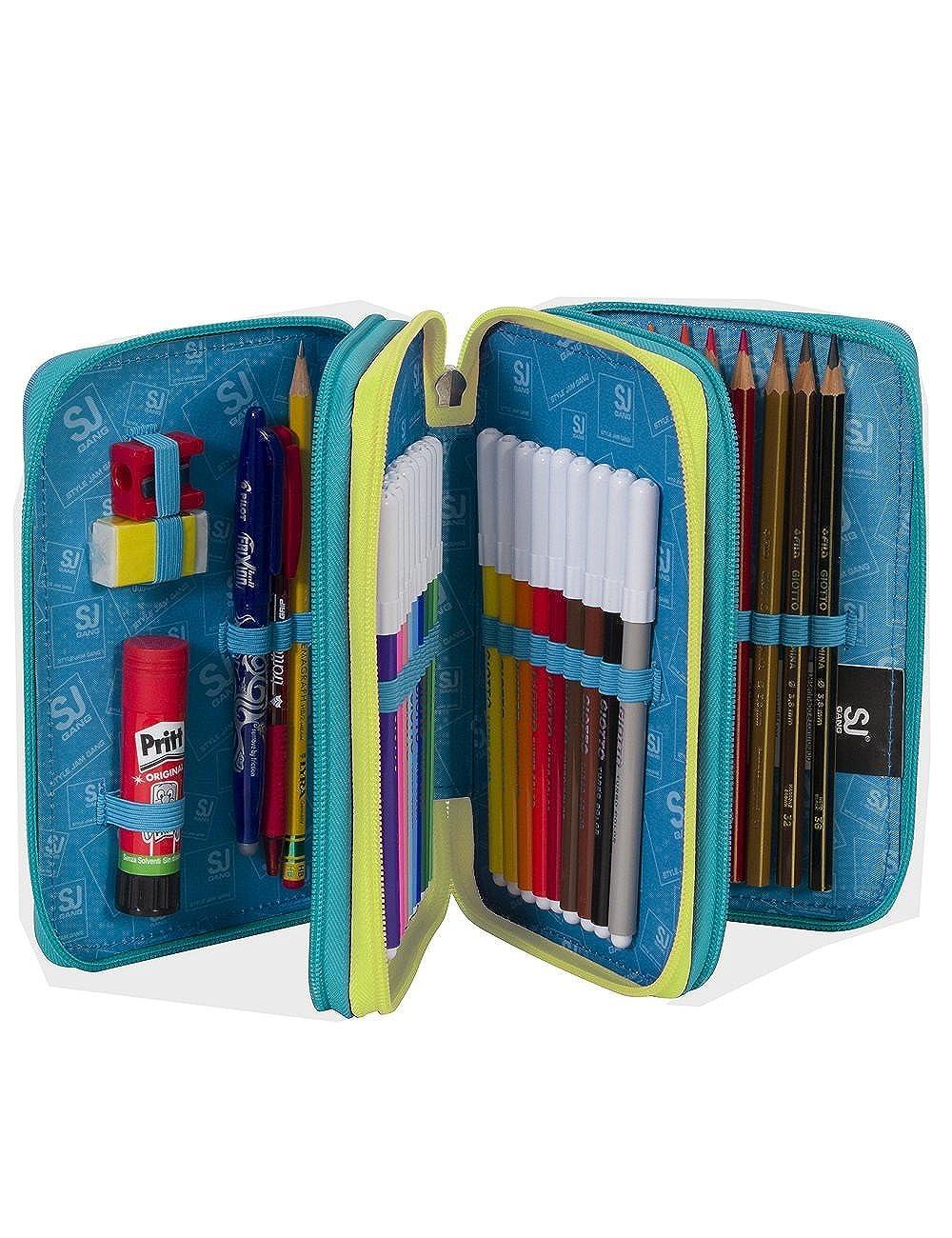 3 Zip Red Yellow erasable pen felt tips eraser ecc School Pencil Case SEVEN SJ BOY