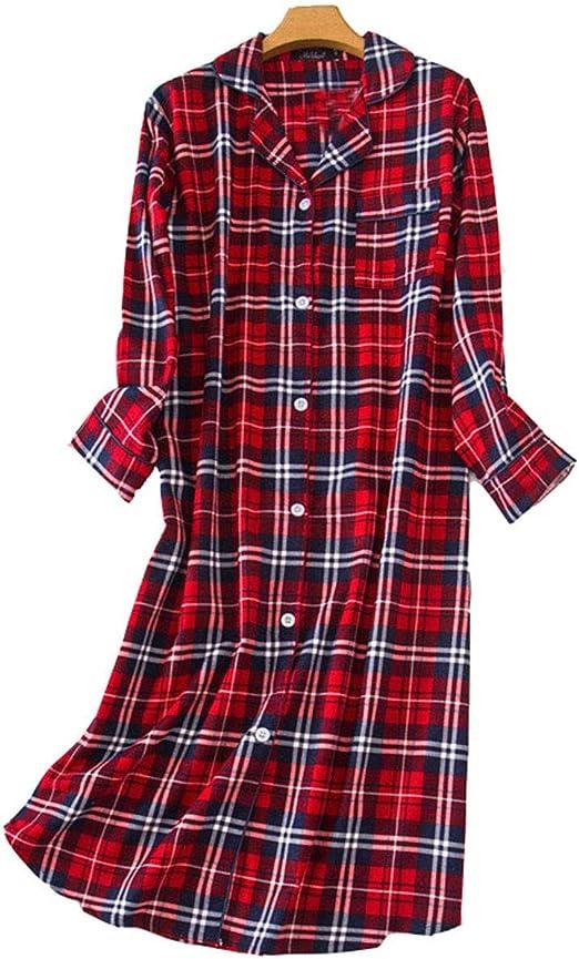 Pijamas Mujer Algodon Camisón Casual Sexy Pijamas Camisa de Dormir ...