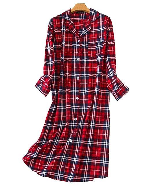 Camisones Pijama Mujer Algodon Invierno Manga Larga Ropa De Dormir Tallas Grandes Camison Botones Pijamas Camisones Ropa