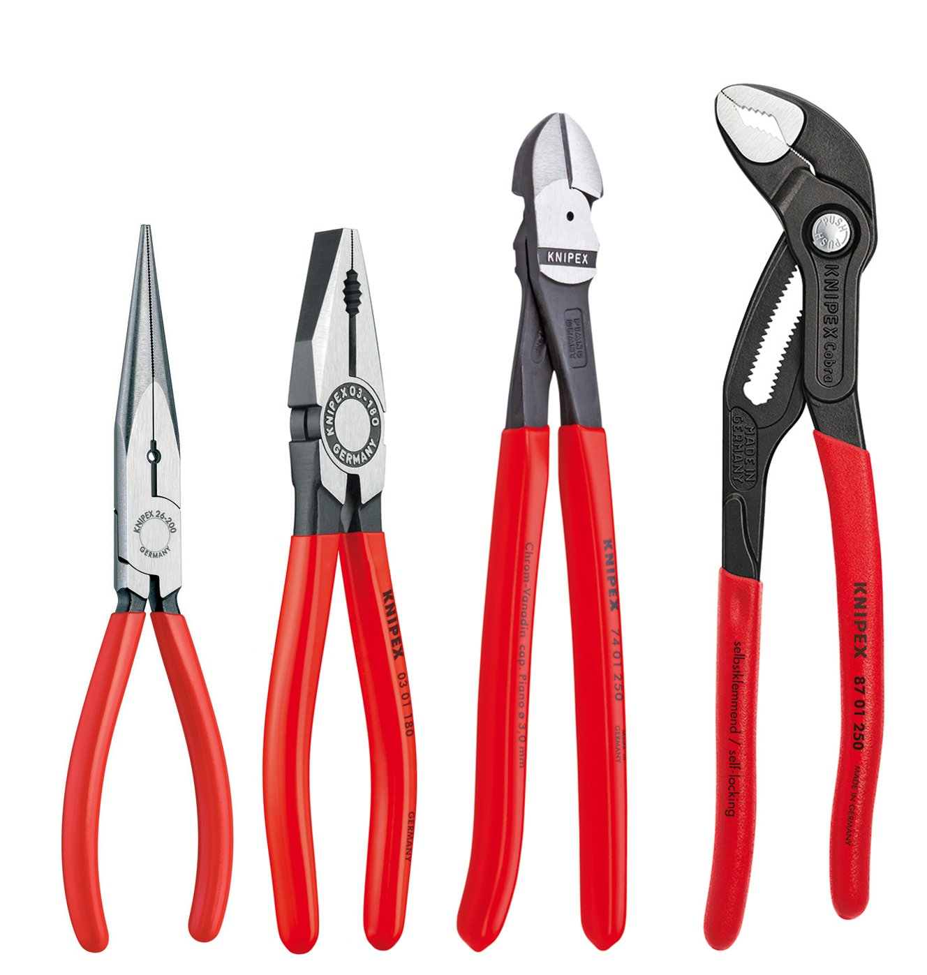 Knipex Tools 9K 00 80 94 US Cobra Combination Cutter and Needle Nose Pliers Set (4 Piece)