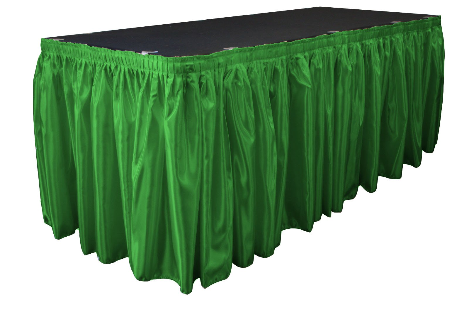 LA Linen Bridal Satin Pleated Table Skirt with 15 Large Clips, 21-Feet by 29-Inch, Green Kelly