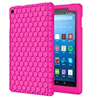 MoKo Hülle für All-New Amazon Fire HD 8 Tablet (7th & 8th Gen – 2017& 2018 Modell) - [Honey Comb Series] Lightweight Silikon Case Stoßfest [Kids Kinderfreundlich] Schutzhülle Fire HD 8, Magenta