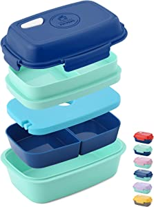 Ultimate Bento Box - Lunch Box for Kids & Adults - 100% Leakproof - Multi Compartment Food Container with Removable Containers and Ice Pack - Microwave & Dishwasher Safe (Blue, Green, Blue)