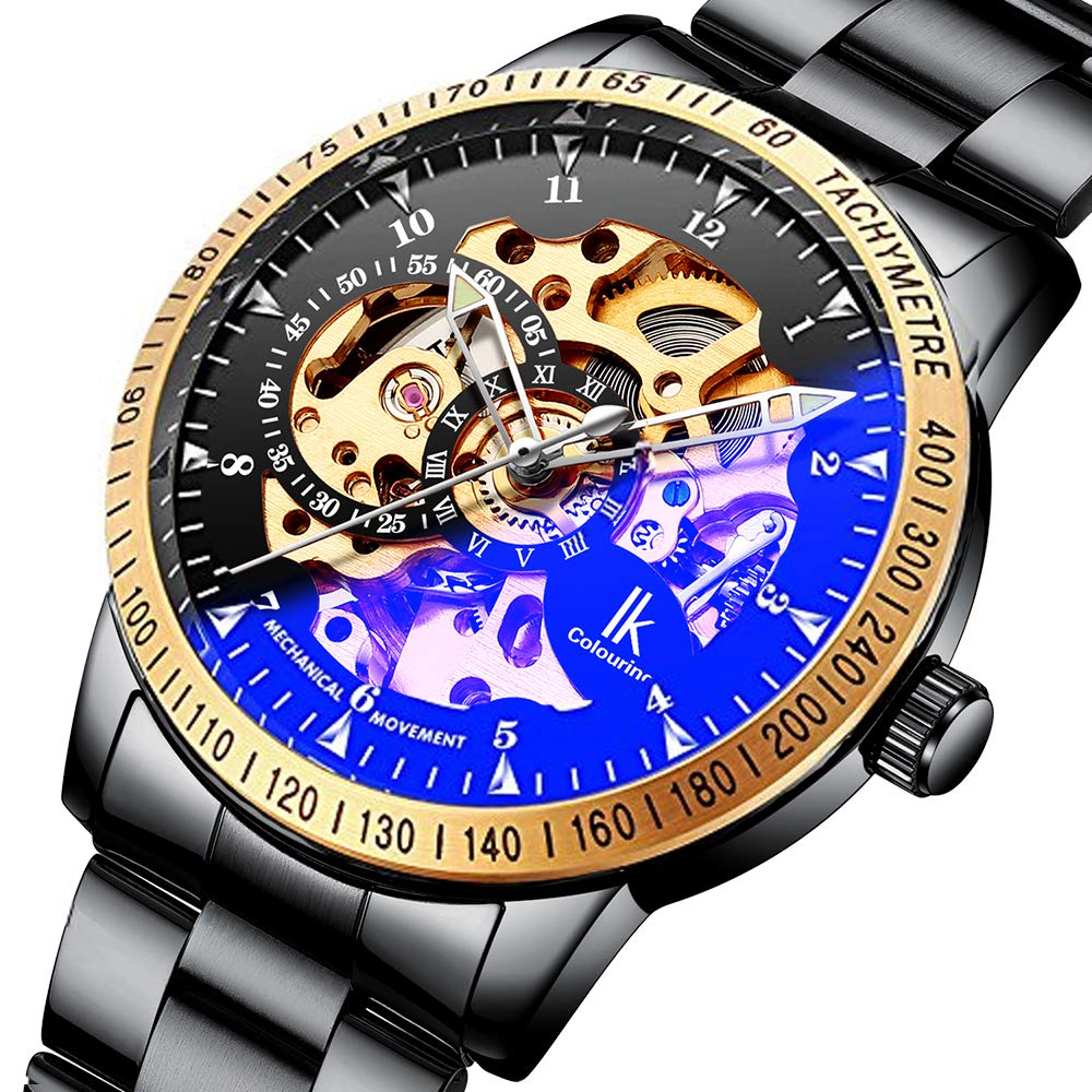 Gute Casual Mens Black Steel Skeleton Automatic Mechanical Coated Glass Wristwatch (Gold)