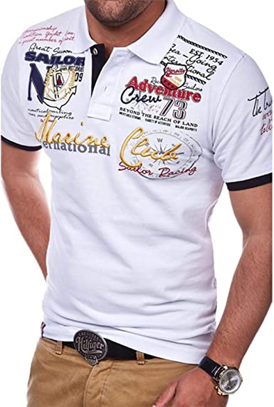 Mens Floral Cotton Short Sleeve Polo Shirt Summer Polos Tees Tops