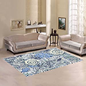 "Love Nature Sweet Home Modern Collection Custom tracery Seamless Calming Pattern Mehendi Area Rug 7'x 3'3"" Indoor Soft Carpet Runners Rugs for Hallways"