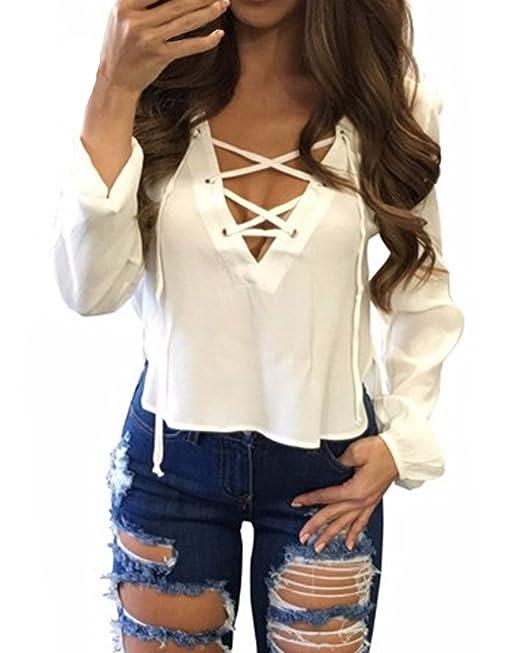 StyleDome Mujer Camiseta Blusa Cuello Pico con Tiras Mangas Largas Elegante Oficina Casual Blanco EU 48