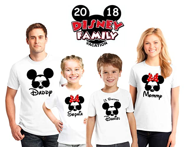 ab648e025 Disney family matching custom shirts With Glasses, Family vacation Disney  shirts,Mickey Minnie mouse Personalized shirt, Personalized Disney Shirts  for ...