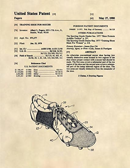 058acd9784612 Amazon.com: Patent Prints - Soccer Cleats Patent Art - Soccer Wall ...