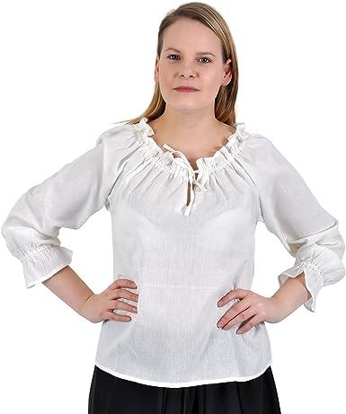 Blusa medieval ligera - manga larga - mujer - escote ajustable con acordonado - algodón - blanca - L: Amazon.es: Ropa y accesorios