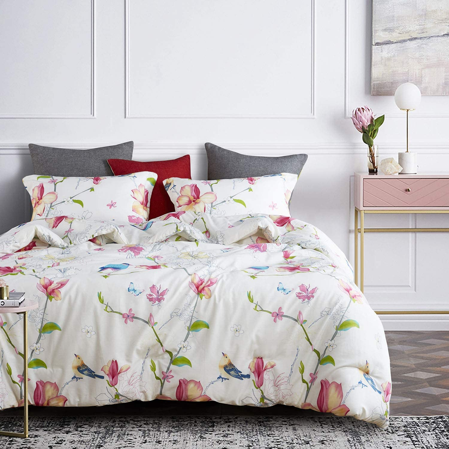 White Floral Flowers and Tree Branches Leaves Pattern Printed on Dark Grey Wake In Cloud 100/% Cotton Fabric with Soft Microfiber Fill Bedding Gray Comforter Set 3pcs, King Size