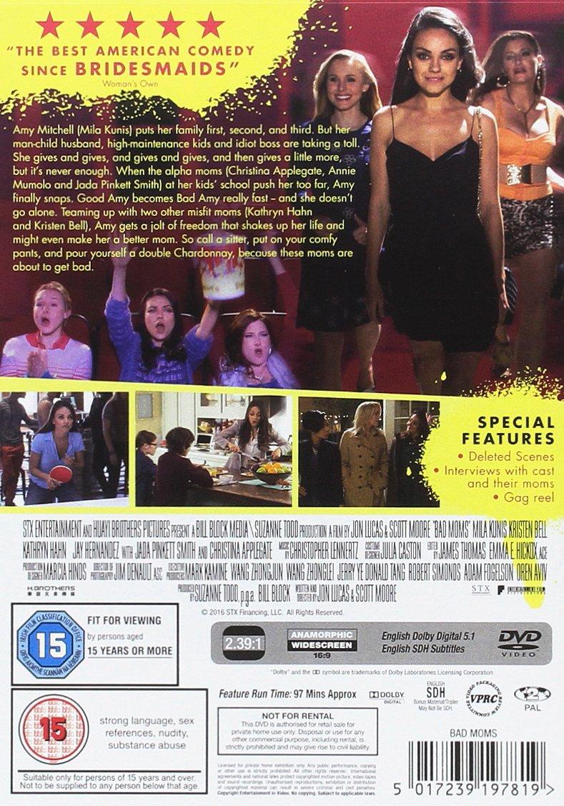 Bad Moms [DVD]: Amazon.co.uk: Mila Kunis, Christina Applegate ...