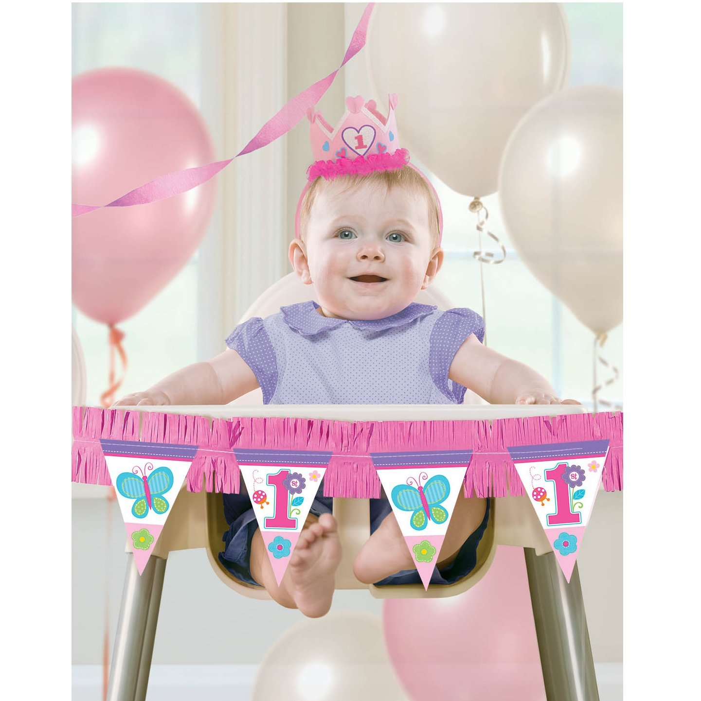 50OFF Amscan Flowers And Butterflies Girls 1st Birthday Party High Chair Decorating Kit