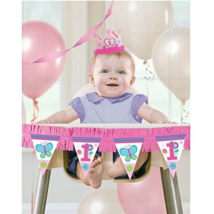 Amazoncom Amscan High Chair Decorating Kit 1st Birthday Girl