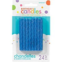 Birthday Candles Large Spiral Candle Glitter - Blue