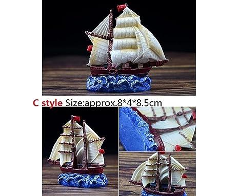 OHlive - Adornos para Acuario en Miniatura, diseño de Barco de Vela