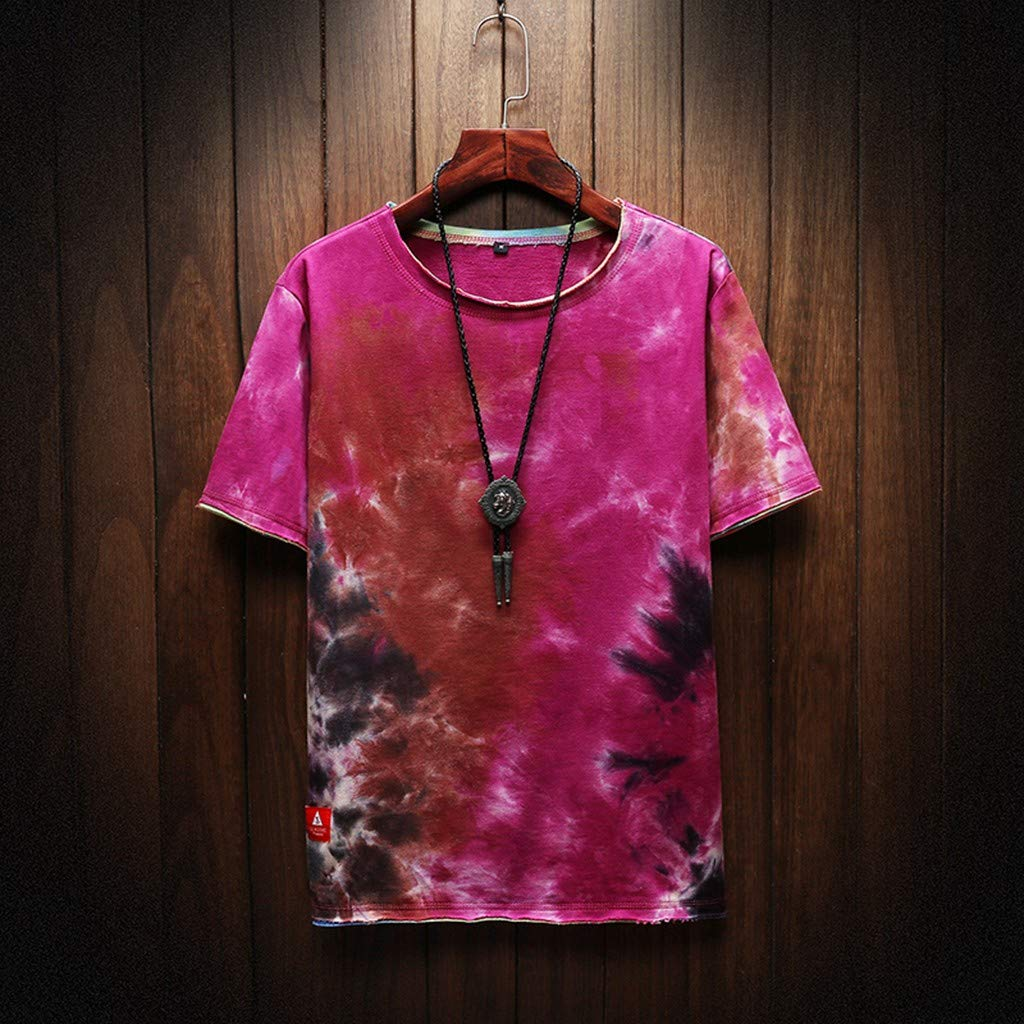 Gleamfut Mens Summer Tie-Dyed Blouse Fashion Printed Short Sleeve Layered Hipster Shirt Plus Size Tops Blouse T-Shirt