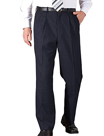 d9efe112a9b Chums Mens High Waisted with Hidden Waistband Pleated Trouser Pants   Amazon.co.uk  Clothing