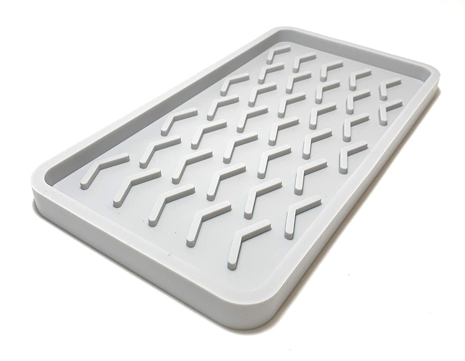 Silicone Kitchen Sink Organizer Tray, 10 inches x 5.25 inches, 10.4 ounces (LIGHT GREY)
