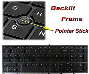 GinTai Laptop Keyboard with Backlit Frame Trackpoint Replacement for HP Zbook 15 G3 17 G3 837551-001