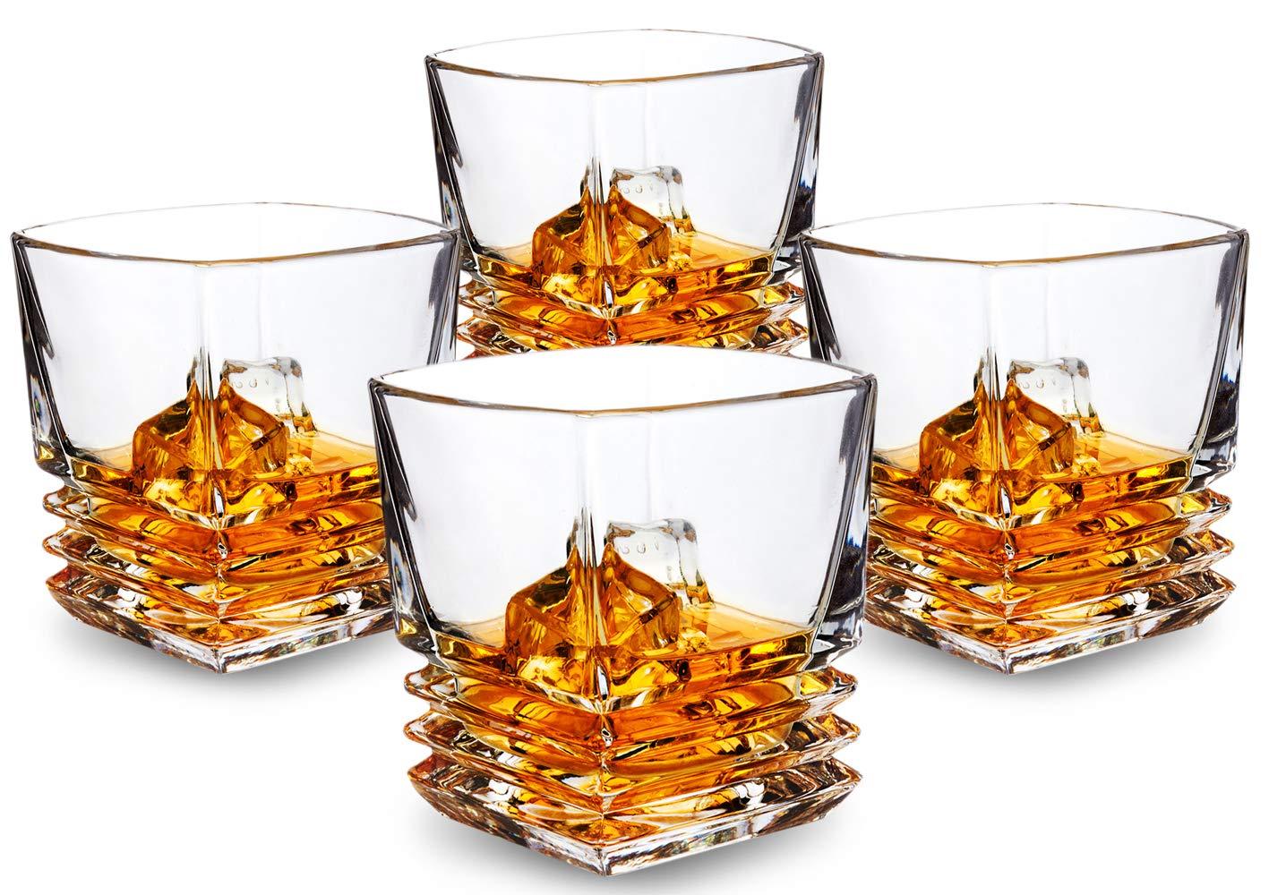 KANARS Pacific Whiskey Glasses set of 4. Premium Lead Free Crystal Rocks Tumblers for Bourbon Tasting or Scotch Drinking. Dishwasher Safe