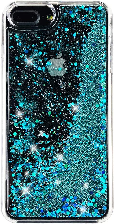 """uCOLOR Case Compatible for iPhone 7 Plus /8 Plus,iPhone 6S Plus/6 Plus Case (5.5"""") Turquoise Blue Green Glitter Sparkle Liquid Waterfall Clear Protective Case for iPhone 7 Plus/8 Plus/6s Plus/6 Plus"""
