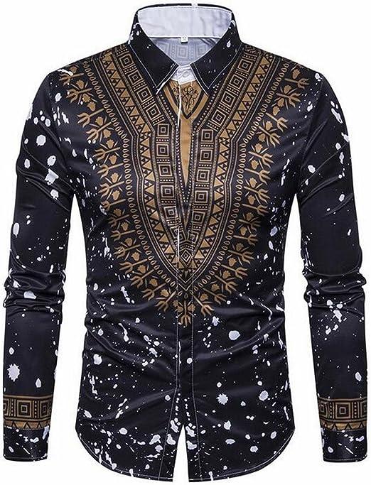 JYZJ Mens Business Slim Fit Button Down Printing Long Sleeve Dress Shirts
