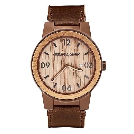 Original Grain hombres Barril - madera de whisky y Espresso de acero reloj para hombre con correa de cuero angustiados: Original Grain: Amazon.es: Relojes