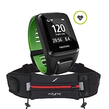 Pulso Reloj TomTom Runner 3 Cardio Small, BLK/Green Incluye Fitletic ultmate II unidad