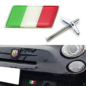 iJDMTOY Italian Flag Emblem Badge w/Grille/Mesh Mount Toggle Bolt Anchor For Fiat Alfa Romeo Ferrari Maserati Lamborghini, etc