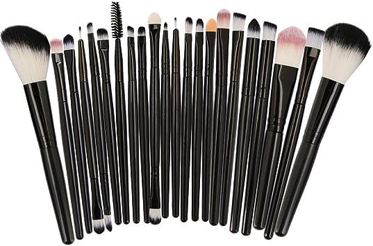 22PCS Brochas de Maquillaje Profesional,ZARLLE cepillo set,Cepillos para ojos,Maquillajes labiales,Delineadores de ojos,Aplicadores de polvos,Pincel de sombra (Una talla, Negro): Amazon.es: Belleza