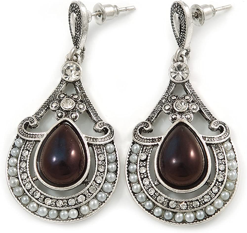 Pendientes colgantes de cristal de lágrima, imitación de perlas en tono de plata envejecida, 50 mm de largo
