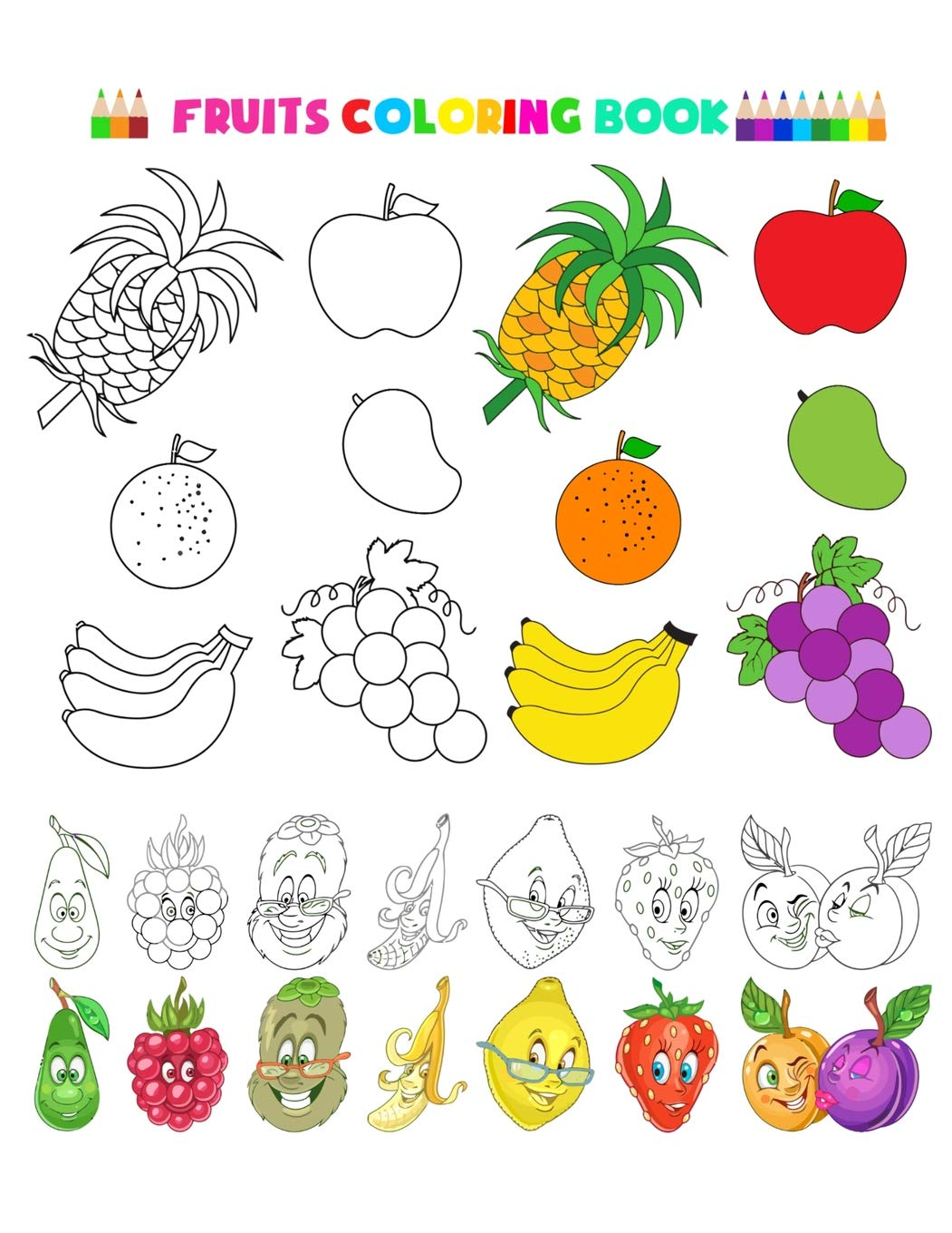 - Fruits Coloring Book: Fruits And Vegetables Baby Activity Book For