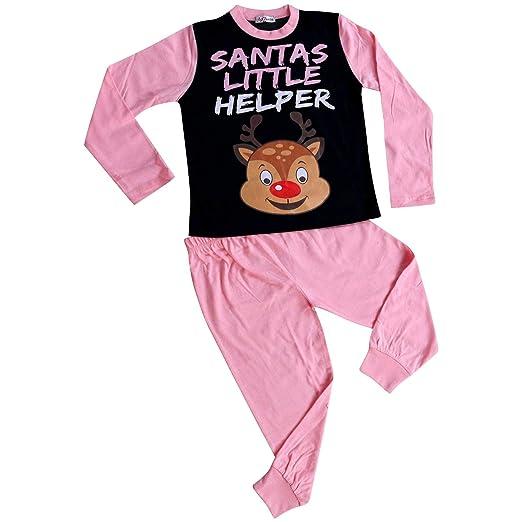 99f5001ba Amazon.com  Kids Girls Pyjamas Santas Little Helper Reindeer Rudolph ...