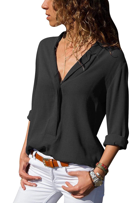 Chemise Femme Chemisier Mousseline de Soie T-Shirt Solide Tunique Femme Chic Manches Longues Tops Blouse Casual Pull Haut Col V