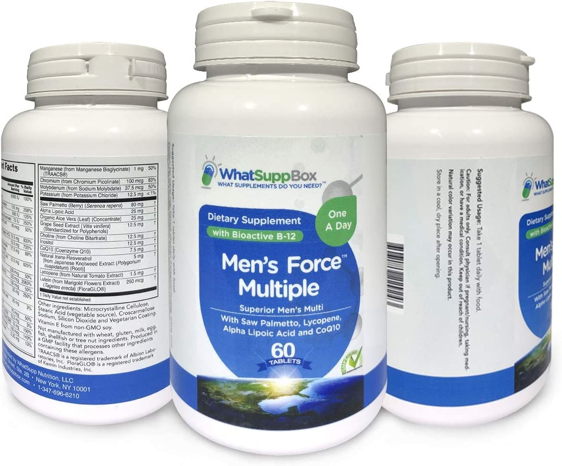 Men's Force Multivitamin for Men - One A Day Superior Absorption Formulation | High Potency Multi | Testosterone-Supporting Zinc, Saw Palmetto, Vitamin D, and Lycopene | Heart & Prostate Health