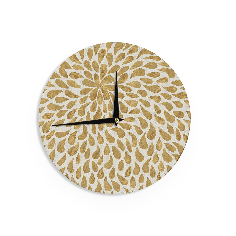 Kess InHouse 888 Design Abstract Golden Flower Gold Tan Wall Clock 12