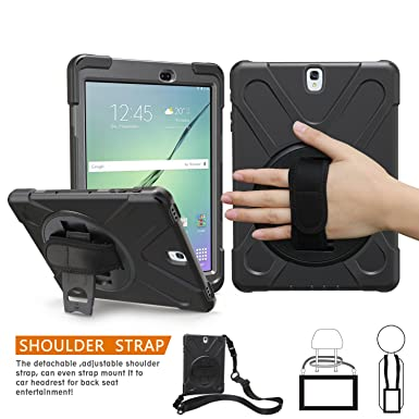 low priced 022aa eb375 Samsung Galaxy Tab S3 9.7 Case, BRAECN[Heavy Duty]360 Degree Rotation  Kickstand/ a Hand Strap and Adjust Shoulder Strap Case[Shockproof]Hybrid ...
