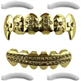 24K Plated Gold Grills with Fangs and Diamonds for Mouth Top Bottom Hip Hop Teeth Grills for Teeth Mouth + 2 Extra Molding Bars, Storage Case + Microfiber Cloth