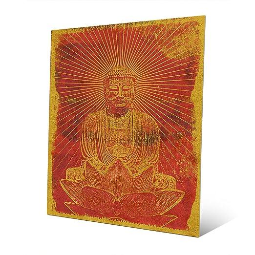 Sunshine Buddha Siddhartha on Lotus in Orange and Yellow Boho Wall Art Print on Metal