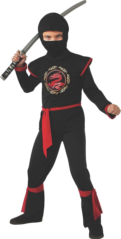 Disfraz de Ninja Dragón para niño, negro y rojo, infantil 5-7 años ...