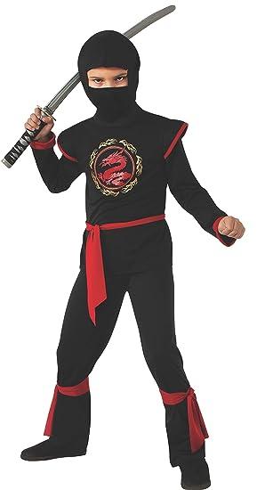 Disfraz de Ninja Dragón para niño, negro y rojo, infantil 5-7 años (Rubies 887057-M)