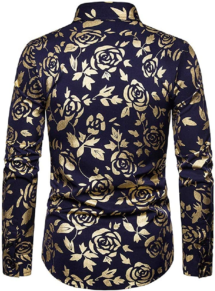 Tralounry Mens Evening Club Gold Floral Turn Down Collar Spring//Fall Long-Sleeve Shirt