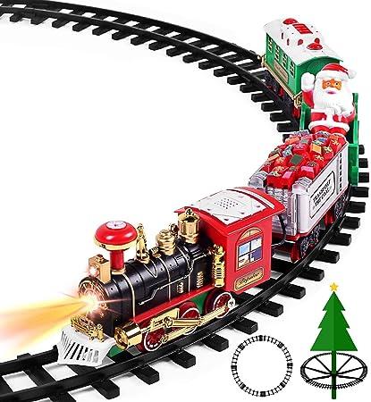 Amazon.com: AOKESI Juego de tren de juguete con luces y ...
