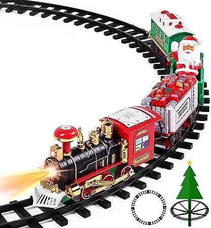 Amazon.com: Juego de tren de juguete AOKESI con luces y ...