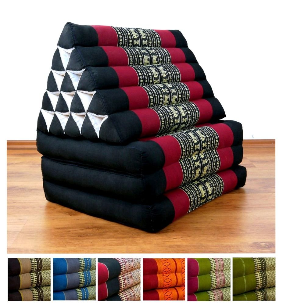 XXL Three Fold Thai Cushion, 74x22x3 inches (LxWxH),extra big Triangle for Backrest, 100 % Natural Kapok Filling, Foldable Thai Mat with Triangle Cushion, Headrest, Thai Pillow