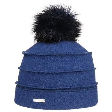 bad0dc9308d72b Seeberger Sukie Walkmütze mit Bommel Mütze Damenmütze Wintermütze Wollmütze  Bommelmütze (One Size - blau)
