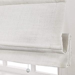 Artdix Cordless Roman Shades Blackout Window Shades - Beige White 10% Linen Fabric Light Filtering Custom Roman Shades Blinds for Windows, Doors, French Doors, Kitchen Windows
