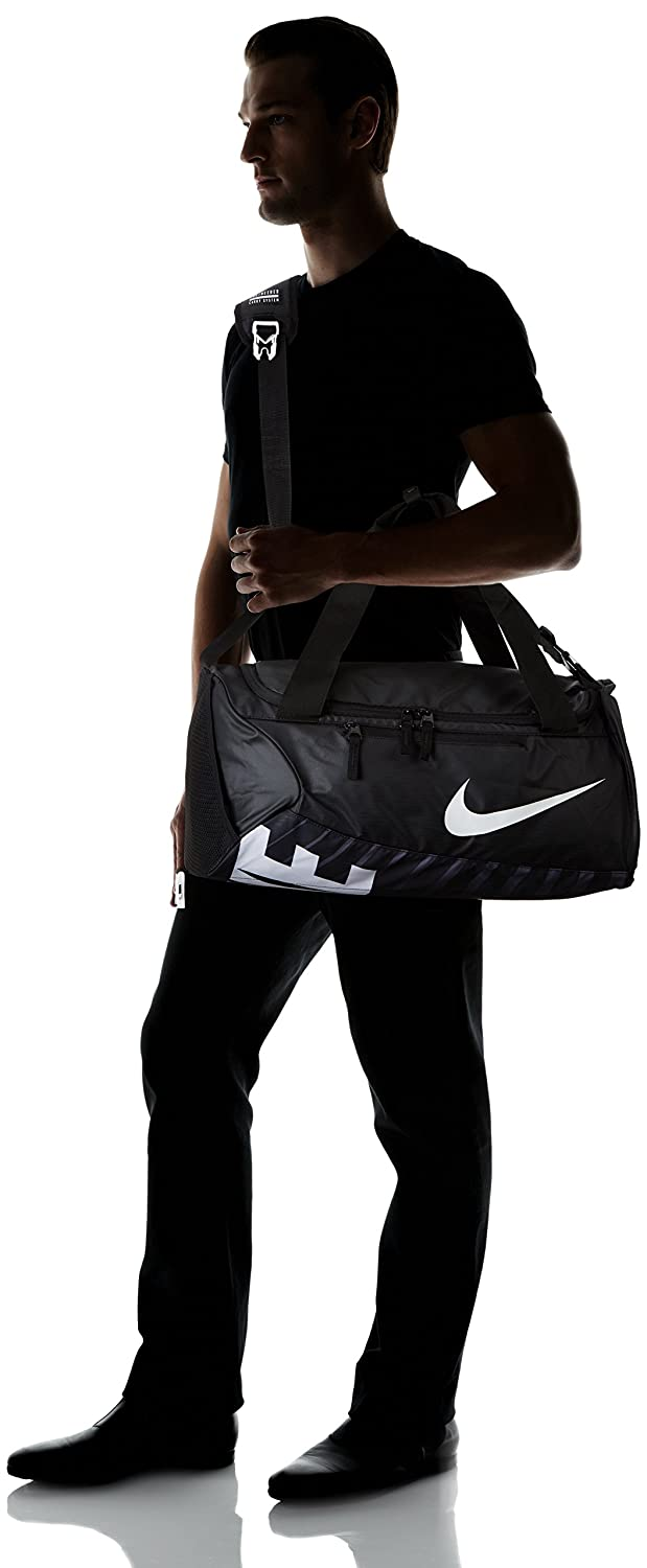 Amazon.com  Nike Alpha Adapt Crossbody Medium Duffel Bag Black Black White   Sports   Outdoors 93439edf77